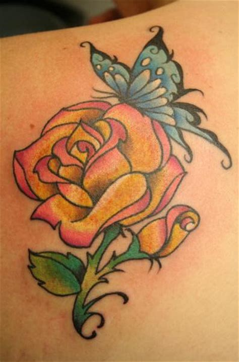 rose and star tattoo designs butterfly tattoos