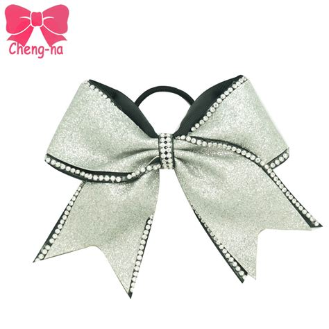 Handmade Bows - fashion 7 quot silver glitter rhinestone cheer bow with
