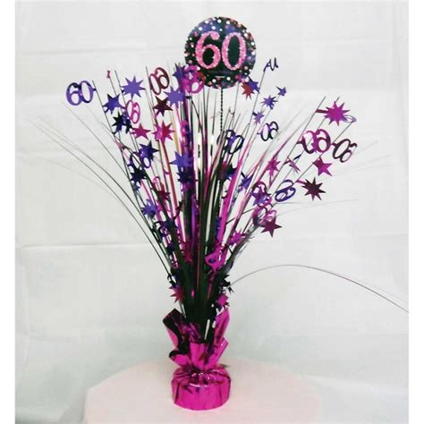 60th birthday spray centrepiece table decoration black