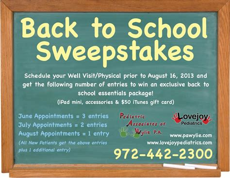 School Sweepstakes - 2013 2014 back to school sweepstakes