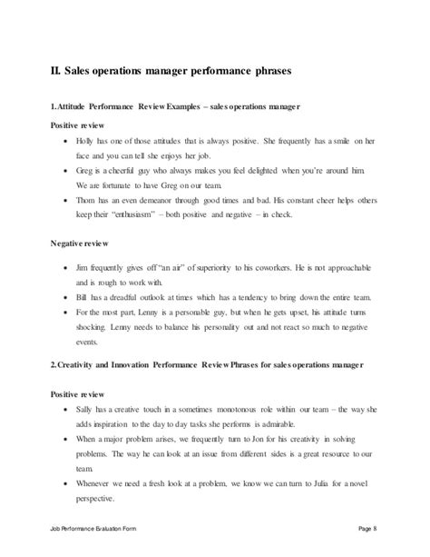 Mba Synopsis On Performance Appraisal by Sales Operations Manager Performance Appraisal