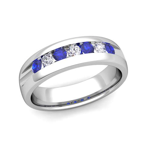 mens wedding band in platinum channel set sapphire