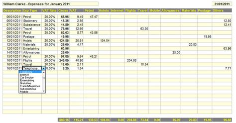 Home Business Expense Spreadsheet by Monthly Expenses