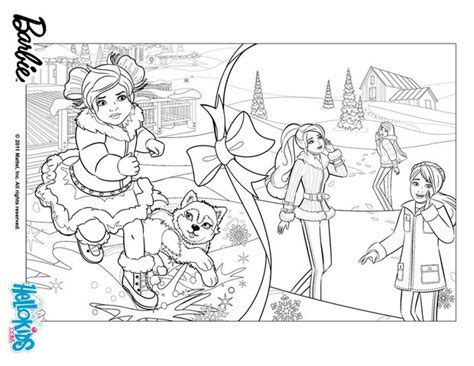 barbie snowy christmas coloring pages hellokids com