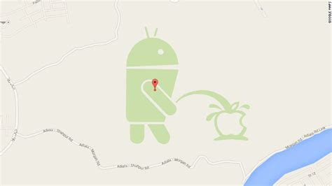 apple on android an android robot is on an apple logo in maps apr 24 2015