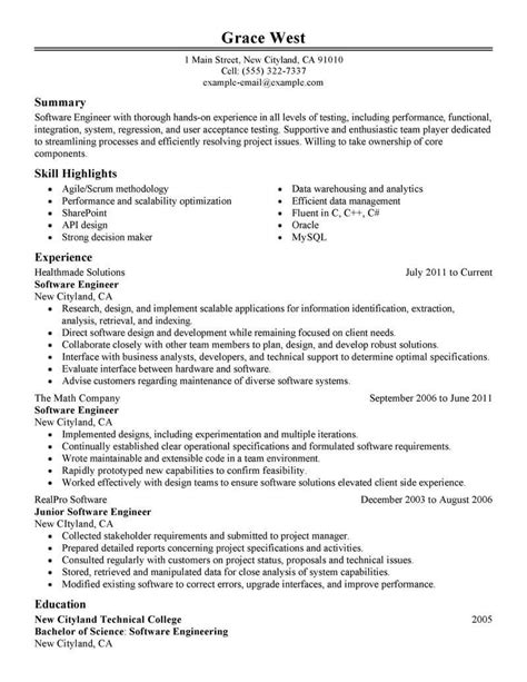 resume format for software engineer in usa best software engineer resume exle livecareer
