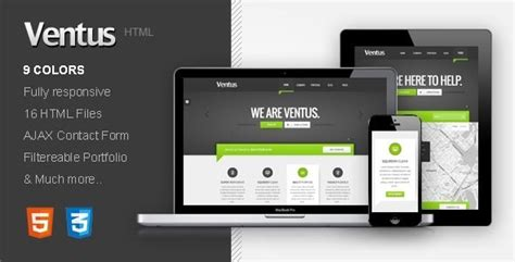 Ventus Responsive Html Template By Moonbear Themeforest Responsive Html Template