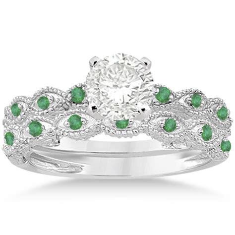 antique emerald engagement ring and wedding band platinum