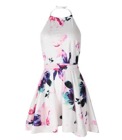 Flower Pattern Backless Mini Dress floral halter backless mini dress n13096