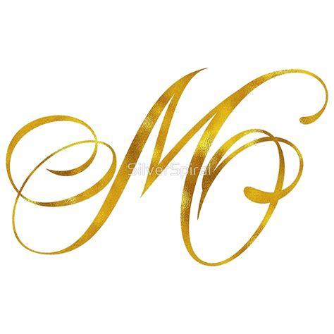 quot letter m initial gold faux foil metallic glitter monogram