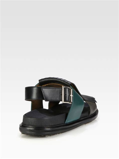 marni sandals marni fussbett sandal in black for grey lyst
