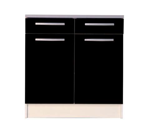 meuble bas de cuisine noir 80 cm 2 portes avec plan de