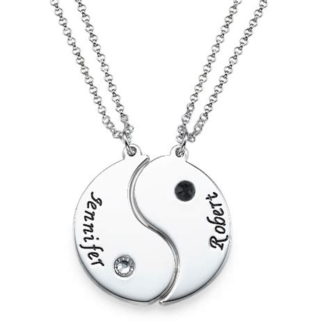 Name Rings Gold Engraved Yin Yang Necklace For Couples Mynamenecklace
