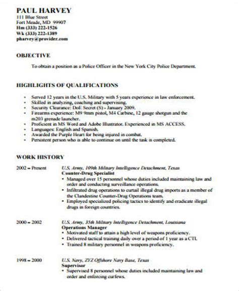 resume templates for a police officer sle police officer resume 6 exles in word pdf