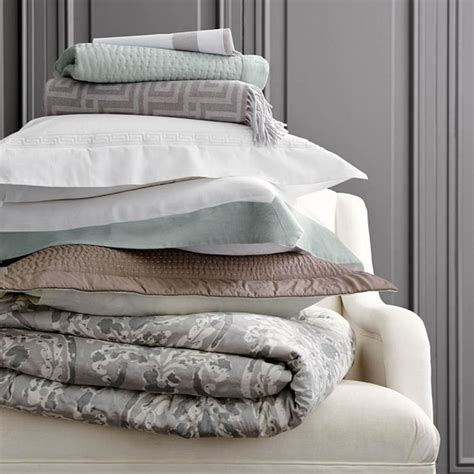 washed linen bedding chambers flax washed linen border bedding williams sonoma