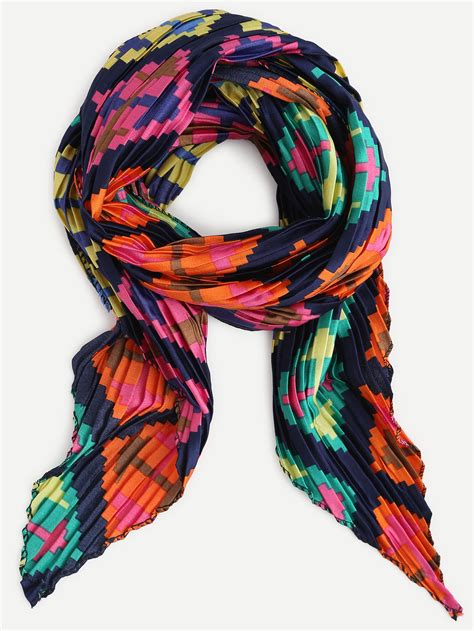 multicolor folding print satin scarf