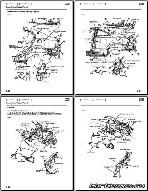 геометрические размеры honda civic 2006 2011 sedan coupe usa body repair manual
