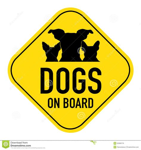 on board dogs on board sign stock illustration image 52089719