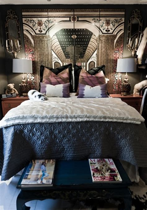 bedroom screen folding screen headboard eclectic bedroom rue magazine