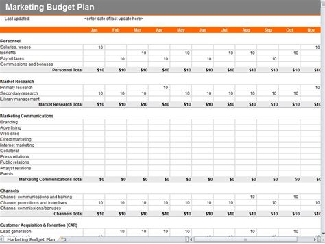 marketing budget template marketing budget template marketing plan budget template