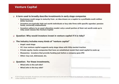 introduction to venture capital and equity