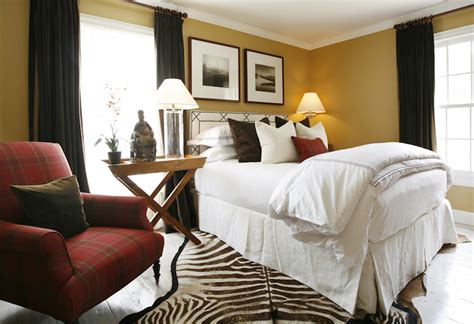 yellow and brown bedroom living rooms zebra cowhide rug black walls paint color