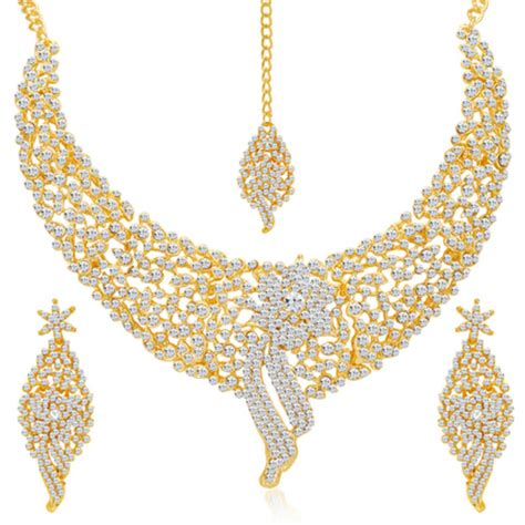 Decorative Stones For Vases Buy Sleek Gold Plated Ad Stone Necklace Set Online