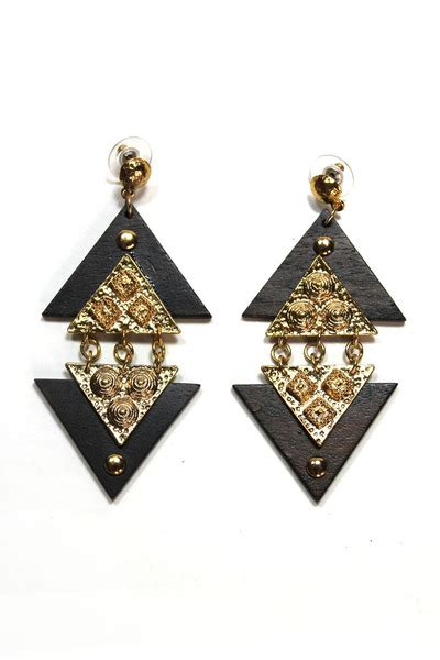 Triangle Statement Earrings triangle dangle earrings quot vintage tribal chic triangle