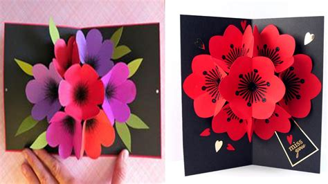 how to make pop up flowers card in paper how to make a bouquet flower pop up card diy 3d flower