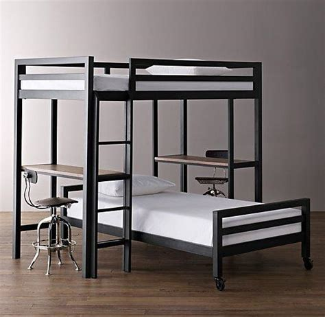 Industrial Loft Study Bunk Bed With 2 Desks I Rh Baby And Study Loft Bunk Bed