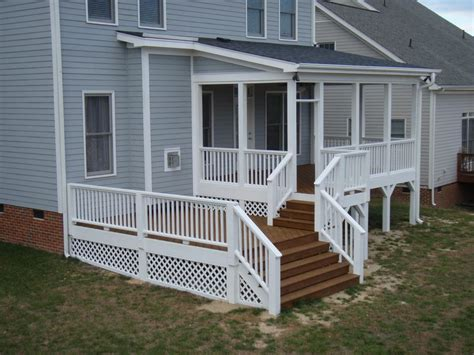 decks and porches stained deck with white railing stained top of railing