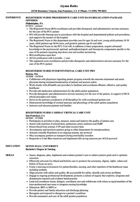 Unit Resume by Registered Care Unit Resume Sles Velvet