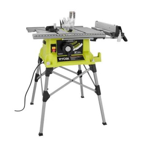 home depot portable table saw ryobi 10 in portable table saw with stand rts21g