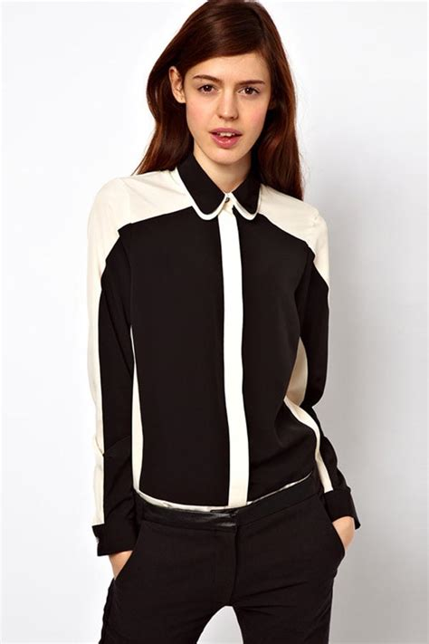 Womens Black Blouse With White Collar by Black White Two Tone Sleeve Shirt Womens Shirts