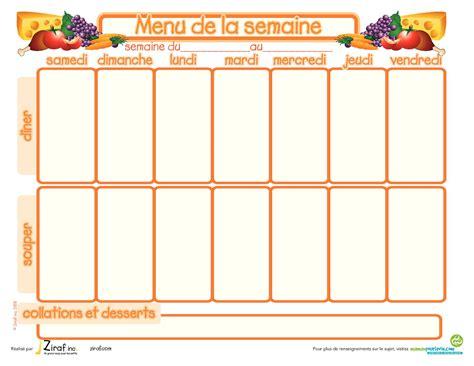 cuisiner pour la semaine mod 232 le de menu de la semaine 224 imprimer planning de repas