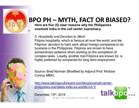 Of The Philippines Mba Program by Myths Facts Or Biased Re Bpo 9th Dec 2015 V2 Dlsu D