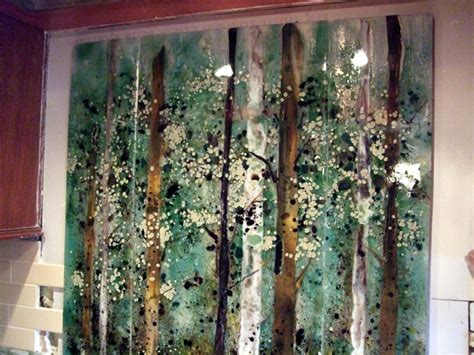 One Wall Murals kitchen backsplash fused glass abstract trees designer