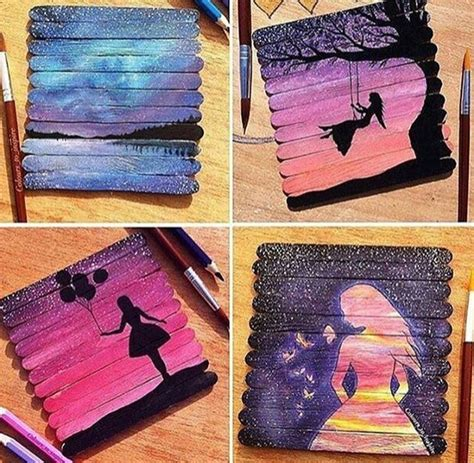 popsicle crafts projects popsicle stick canvas paintings cool drawing painting