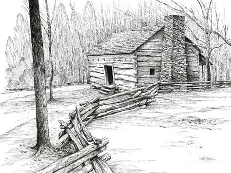 cabin sketch log cabin and mountain landscape mountain log cabin
