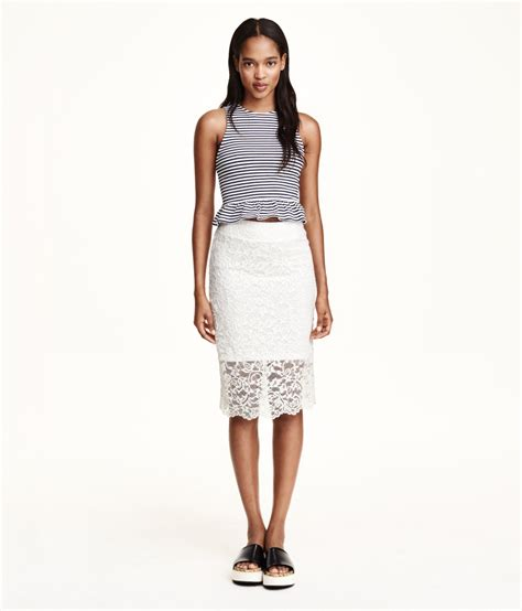 h m lace pencil skirt in white lyst