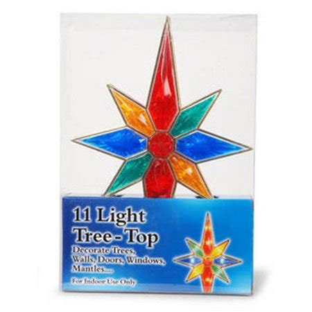 multi colored star tree topper 8 point multi colored bethlehem tree topper with 11 lights walmart