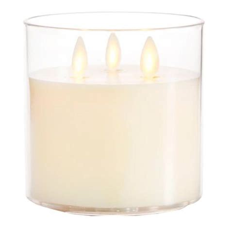luminara fireless candle ultra realistic flameless candle luminara 02353 4 quot x 4 25 quot ivory tri wick unscented