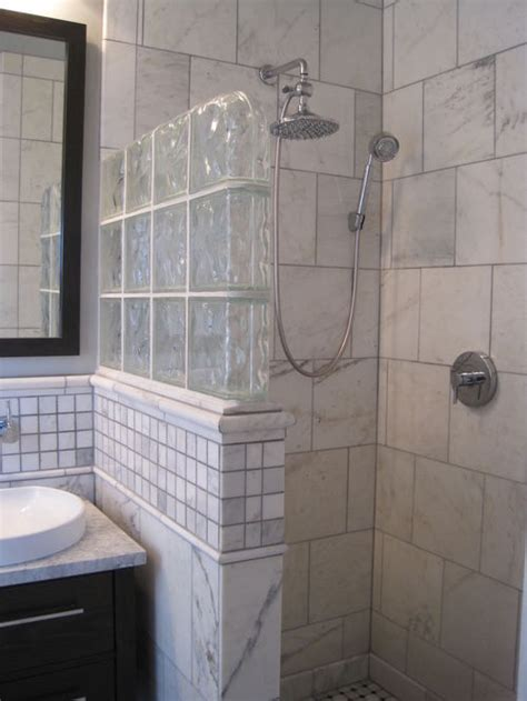Doorless Shower Small Bathroom Glass Block Half Wall Ideas Pictures Remodel And Decor