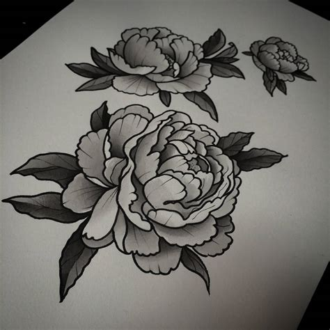 black and gray flower tattoos 18 peony designs