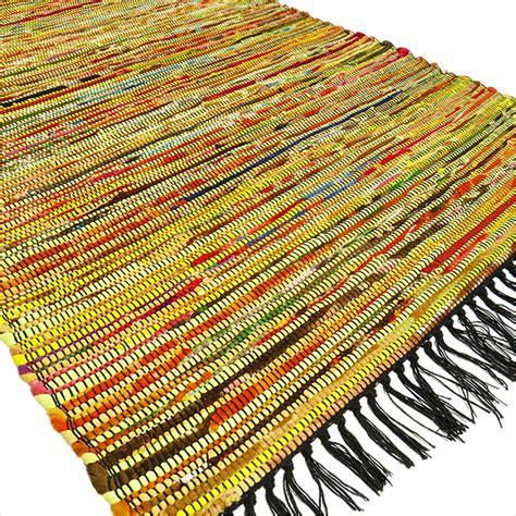 indian rag rug 3 x 5 ft yellow colorful woven chindi rag rug boho bohemian indian decor ebay