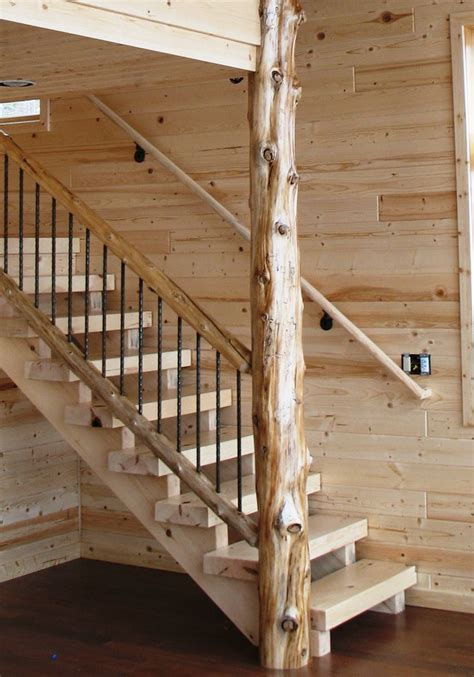 railing design for house timber style stair in a contemporary lake home with cedar