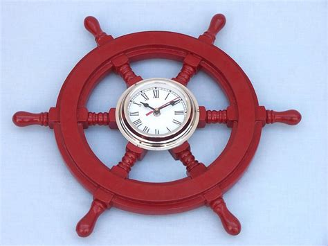 chrome theme clock deluxe class red wood and chrome pirate ship wheel clock 18 quot