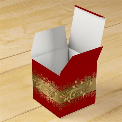 red and gold corporate holiday gift favor box zazzle