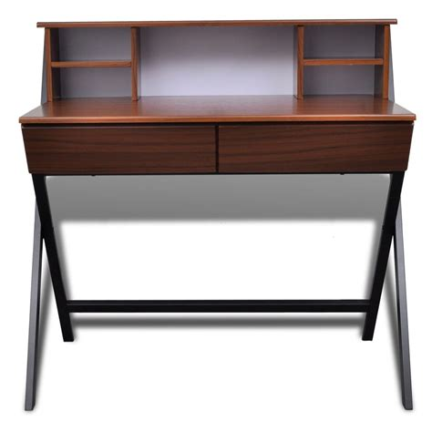 brown desk with drawers brown workstation computer desk with 2 drawers