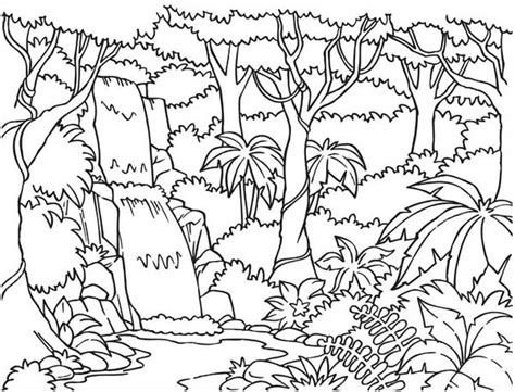 jungle landscape coloring pages forest and waterfalls coloring page jpg 600 215 457